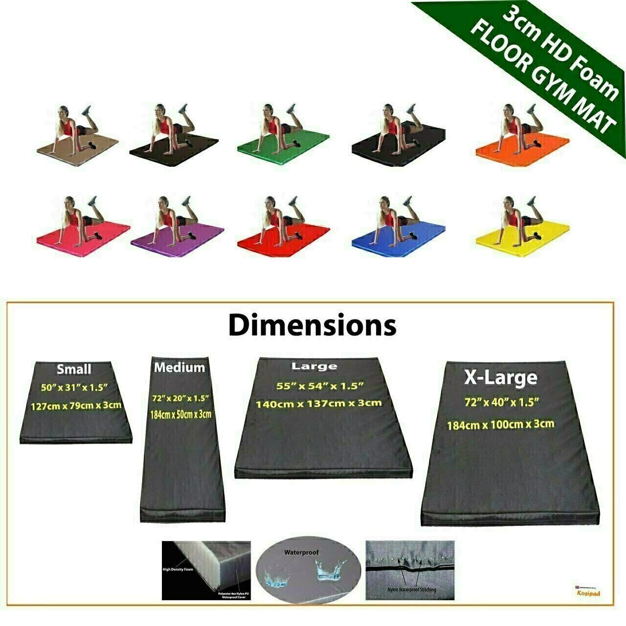 Kosipad 3cm Thick foam floor gym crash mats Navy Blue Dimensions