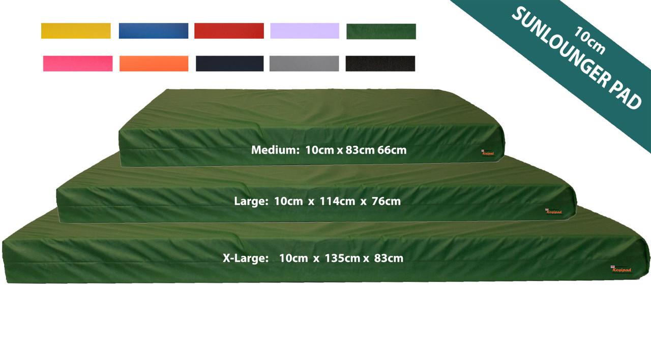 10cm Thick Sun Lounger Mattress, Green Waterproof Sunlounger Cushions Pads - Kosipad