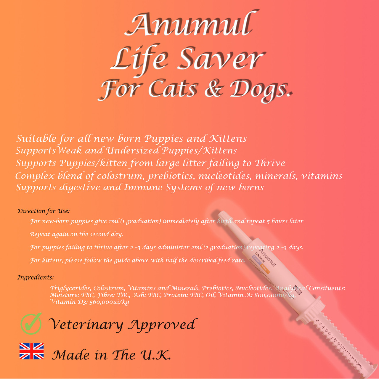 Anumul Life Saver Supports Immune and Digestive Systems for New Born Puppies and Kittens