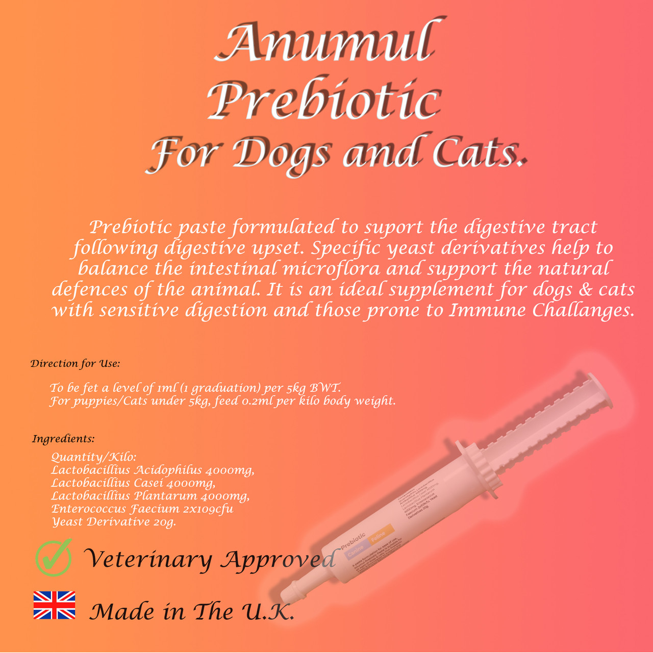 Anumul Prebiotic Paste Supports Upset Digestive Tract for Cats & Dogs