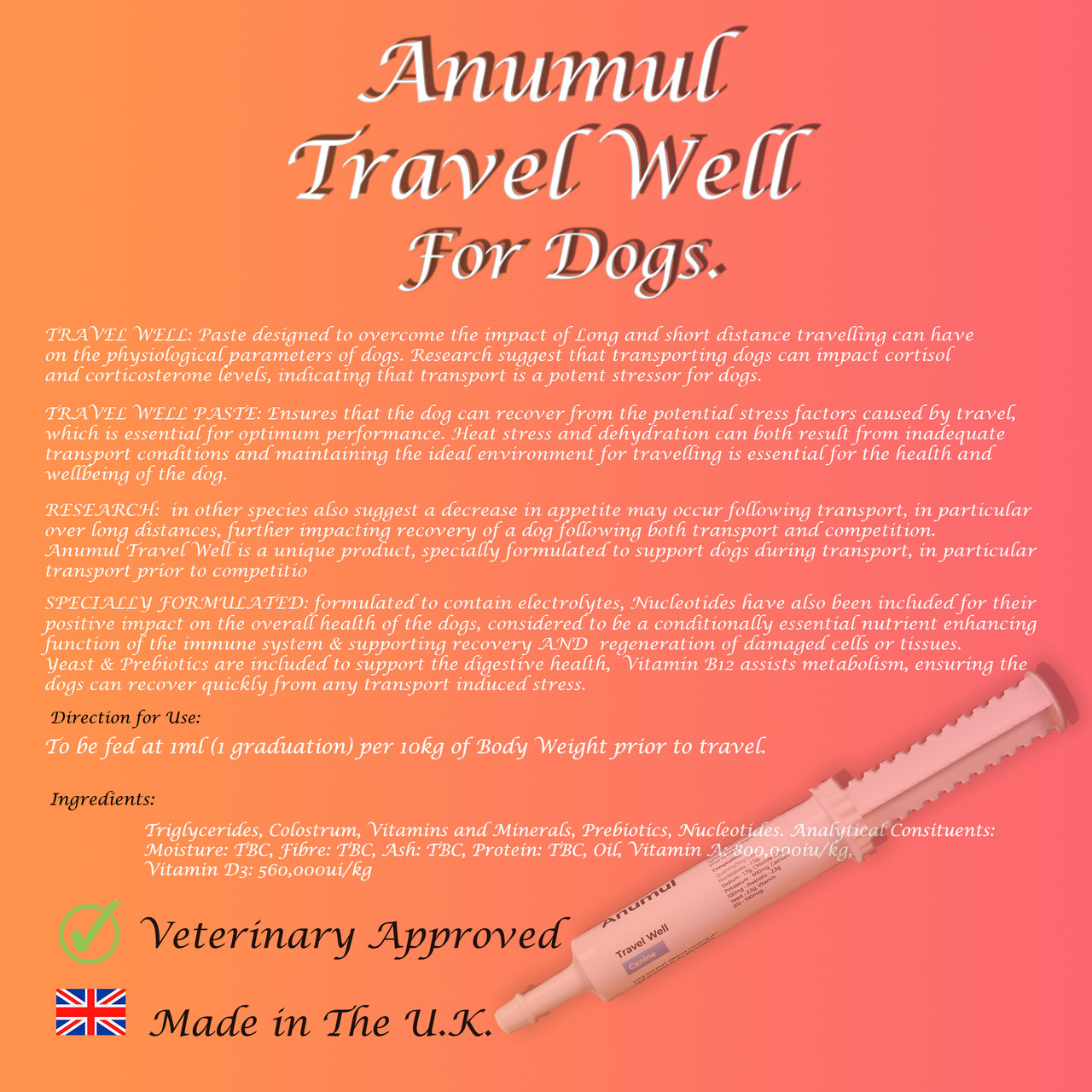 Anumul Travel Well Paste Supports Travelling and Transport Stress for Dogs