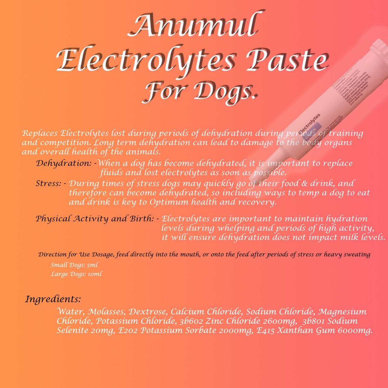Anumul Electrolytes Paste Supports Normal Function of Cells for Dogs Poster