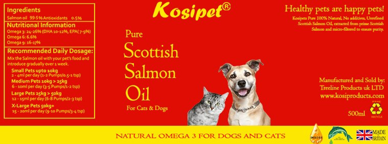 Kosipet Scottish Salmon Oil for Dogs and Cats 500ml label