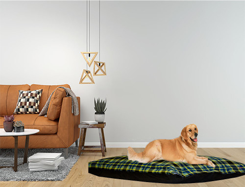 Kosipet Green Check dog bed cushion, machine washable