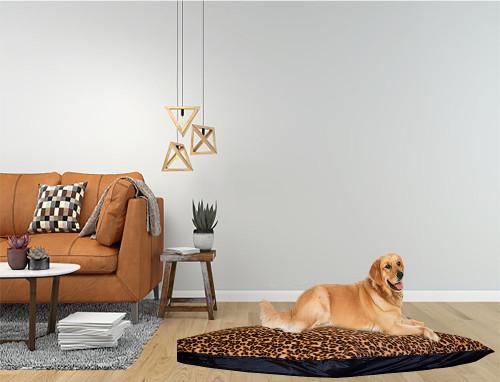 Kosipet Leopard Print Rectangle Cushion Dog Bed