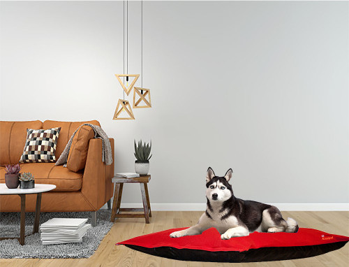 Kosipet Red Fleece dog bed cushion, removable covers