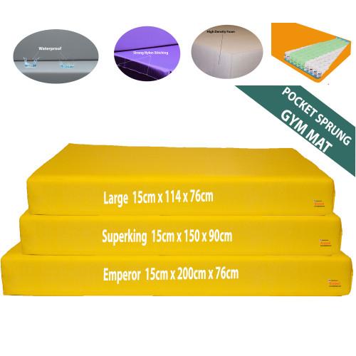 Kosipad 15cm Thick Pocket Sprung foam gym crash mats Yellow all sizes