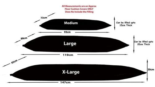 KOSIKUSH® Polar Fleece Spare Cover ONLY Floor Cushion Lounger Beanbag Bean Bag Size Chart