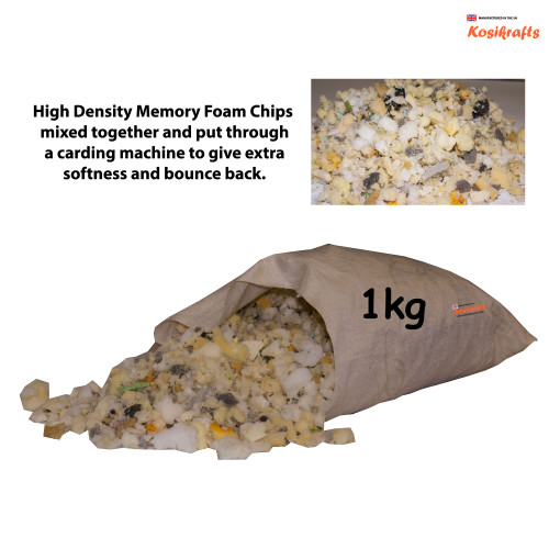 kosikrafts 1kg Memory Foam Chips cushion soft toy stuffing filling for cushion fillers bag