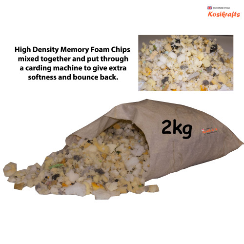 kosikrafts 2kg Memory Foam Chips cushion soft toy stuffing filling for cushion fillers bag