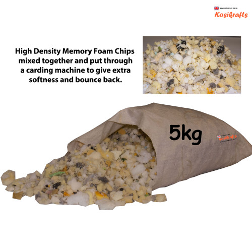kosikrafts 5kg Memory Foam Chips cushion soft toy stuffing filling for cushion fillers bag