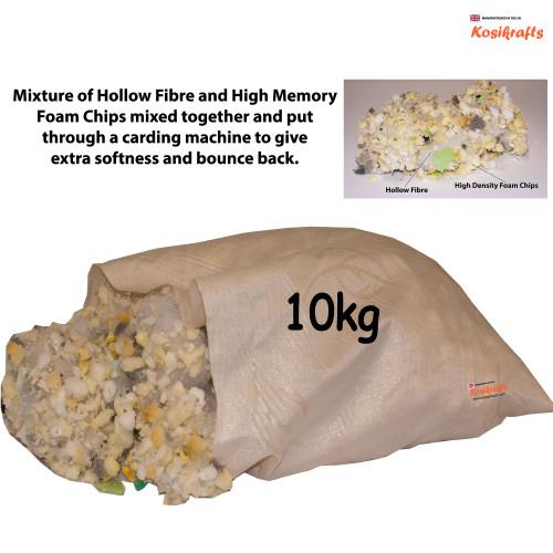 kosikrafts 10kg hollow fibre + Memory Foam mix cushion toy stuffing filling