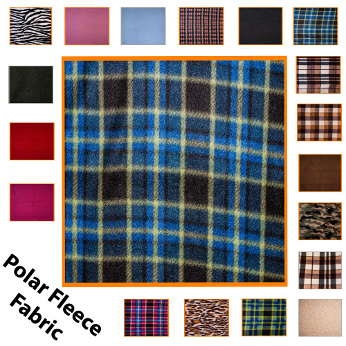 """Kosikrafts Blue Check synthetic fleece fabric Material by the metre, 153cm / 60"""" Width"""