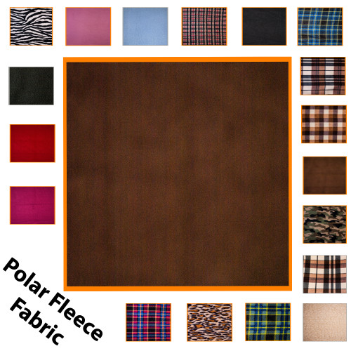 """Kosikrafts Brown Polar Fleece Fabric Material by the metre, 153cm / 60"""" Width"""