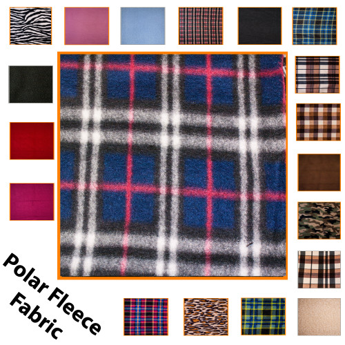 """Kosikrafts Red Check Polar Fleece Fabric Material by the metre, 153cm / 60"""" Width"""