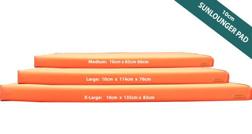 KosiPad Waterproof Sun Lounger Mattress For Garden Orange