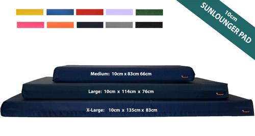 10cm Thick Sun Lounger Mattress, Navy Blue sun lounger mattress - Kosipad