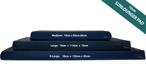 10cm Thick Sun Lounger Mattress, Navy Blue waterproof sun lounger cushions - Kosipad