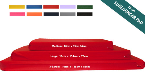 10cm Thick Sun Lounger Mattress, Red waterproof sun lounger cushions Kosipad