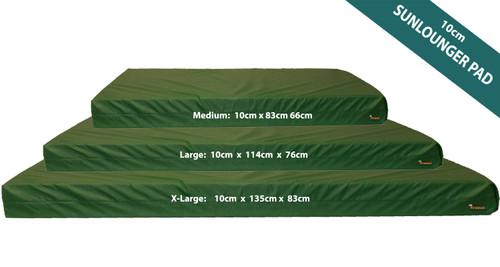 KosiPad 10cm Thick Waterproof Sun Lounger Mattress For Beach Green
