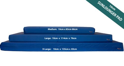 KosiPad 10cm Waterproof Sun Lounger Mattress For Garden Royal Blue