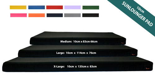 10cm Thick Sun Lounger Mattress, Black Waterproof Sunlounger Cushions Pads - Kosipad