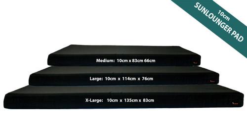 KosiPad Deluxe 10cm Waterproof Sun Lounger Mattress For Garden Beach Black