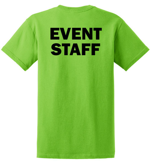 Event Staff Cotton T-Shirts Printed Back,Lime