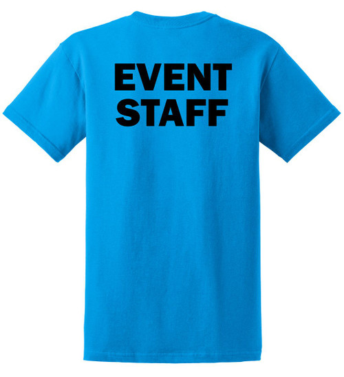 Event Staff Cotton T-Shirts Printed Back, Sapphire Blue