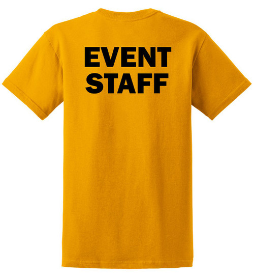 Event Staff Cotton T-Shirts Printed Back,Gold