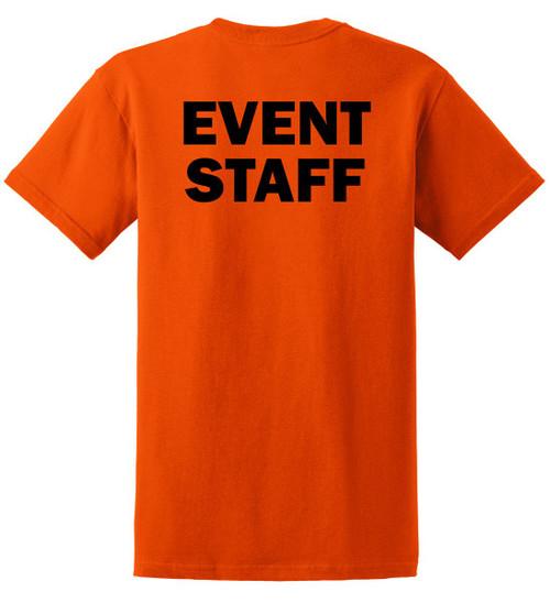Event Staff Cotton T-Shirts Printed Back, Orange