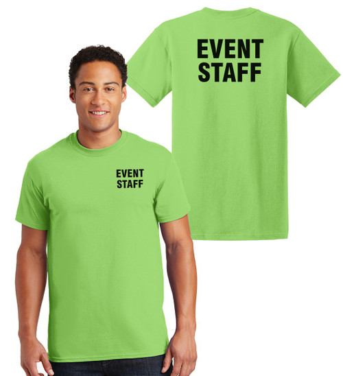 Event Staff Cotton T-Shirts Printed Left Chest and Back,Lime