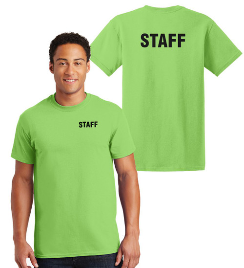 Staff Cotton T-Shirts Printed Left Chest and Back,Lime