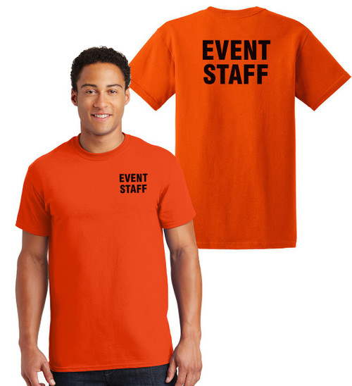 Event Staff Cotton T-Shirts Printed Left Chest and Back,Orange