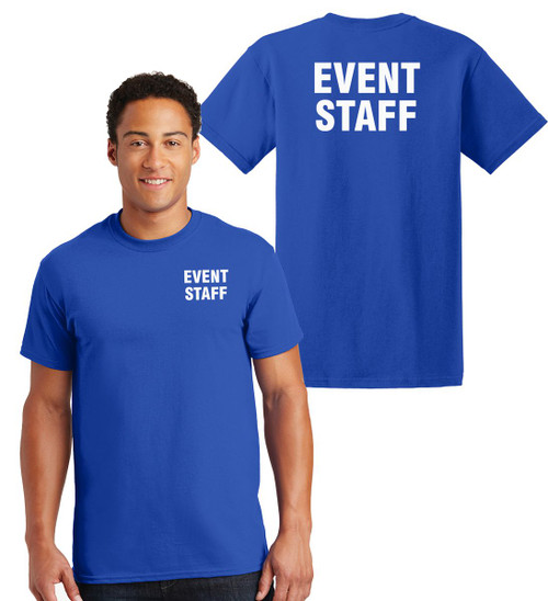Event Staff Cotton T-Shirts Printed Left Chest and Back,Royal