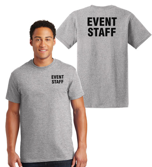 Event Staff Cotton T-Shirts Printed Left Chest and Back,Grey