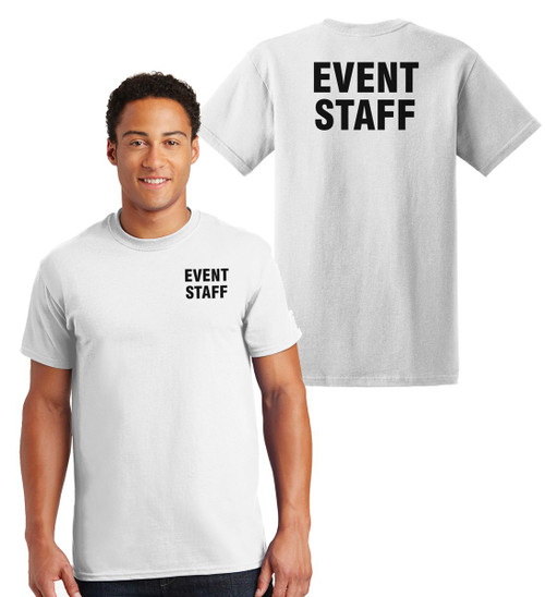Event Staff Cotton T-Shirts Printed Left Chest and Back,White