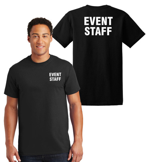 Event Staff *Big and Tall*Cotton T-Shirts Printed Left Chest and Back,Black