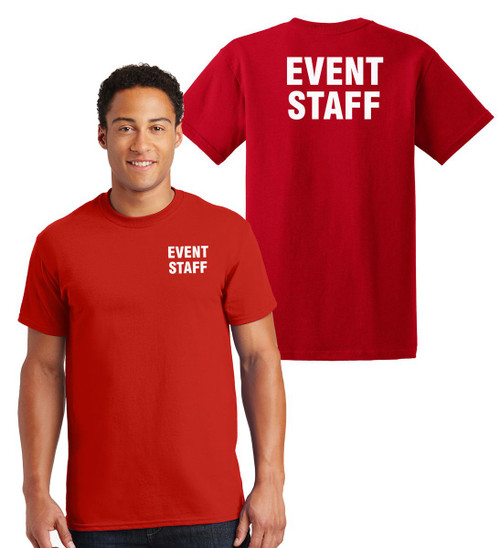 Event Staff Cotton T-Shirts Printed Left Chest and Back,Red