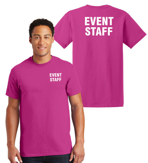 Event Staff Cotton T-Shirts Printed Left Chest and Back,Heliconia