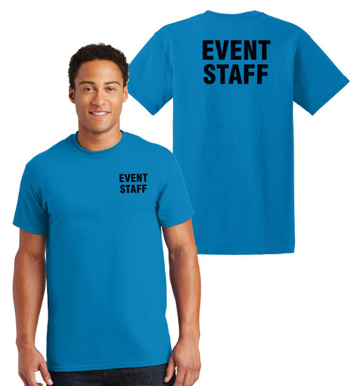 Event Staff Cotton T-Shirts Printed Left Chest and Back,Sapphire