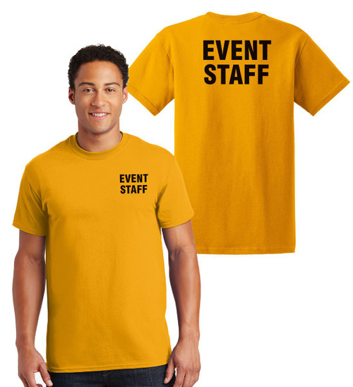Event Staff Cotton T-Shirts Printed Left Chest and Back,Gold