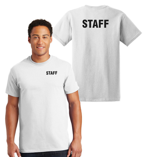 Staff Cotton T-Shirts Printed Left Chest and Back,White