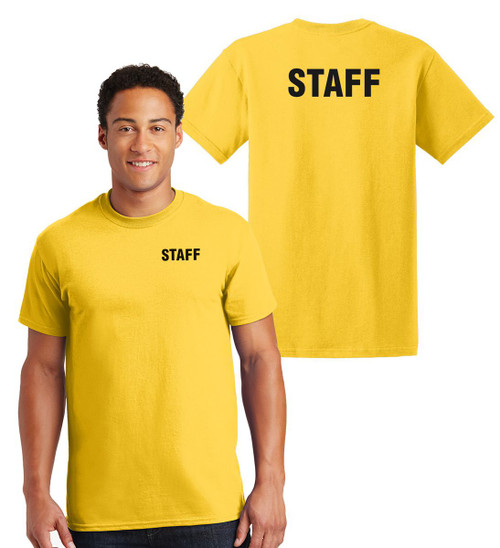 Staff Cotton T-Shirts Printed Left Chest and Back,Yellow