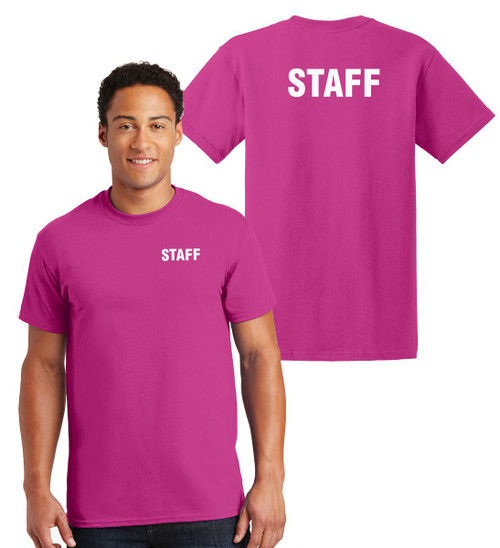 Staff Cotton T-Shirts Printed Left Chest and Back,Heliconia