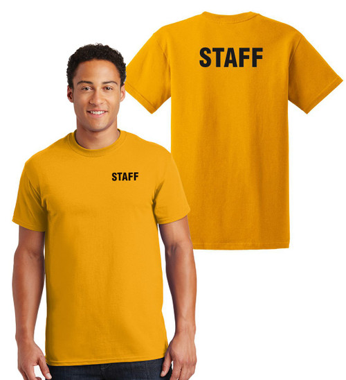 Staff Cotton T-Shirts Printed Left Chest and Back,Gold