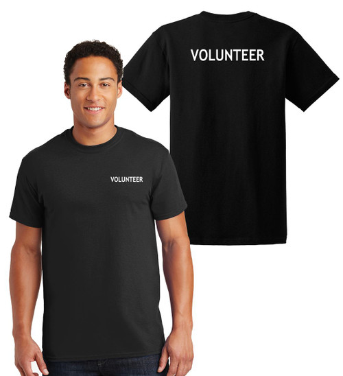 Volunteer **Big and Tall** Cotton T-Shirts Printed Left Chest and Back,Black
