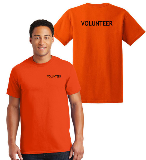 Volunteer Cotton T-Shirts Printed Left Chest and Back,Orange