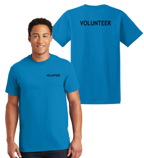 Volunteer Cotton T-Shirts Printed Left Chest and Back,Sapphire