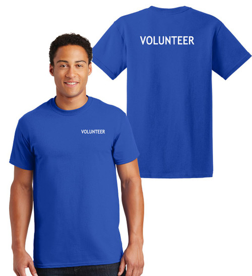 Volunteer Cotton T-Shirts Printed Left Chest and Back,Royal
